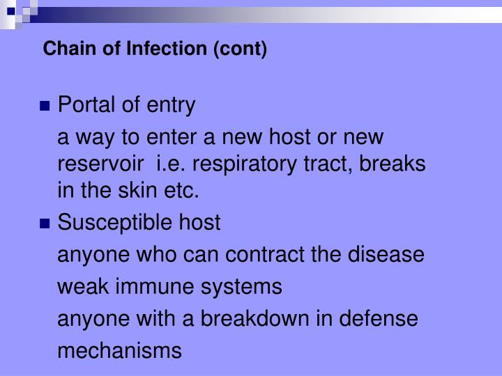 Chain of Infection (cont)