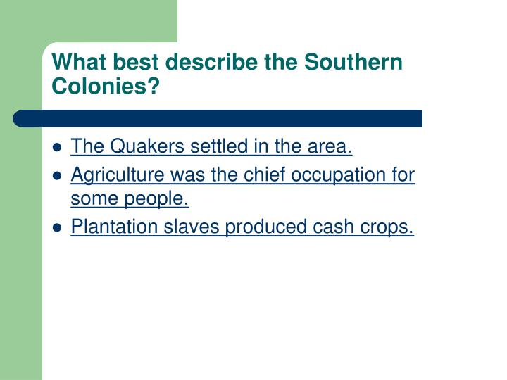 What best describe the Southern Colonies?