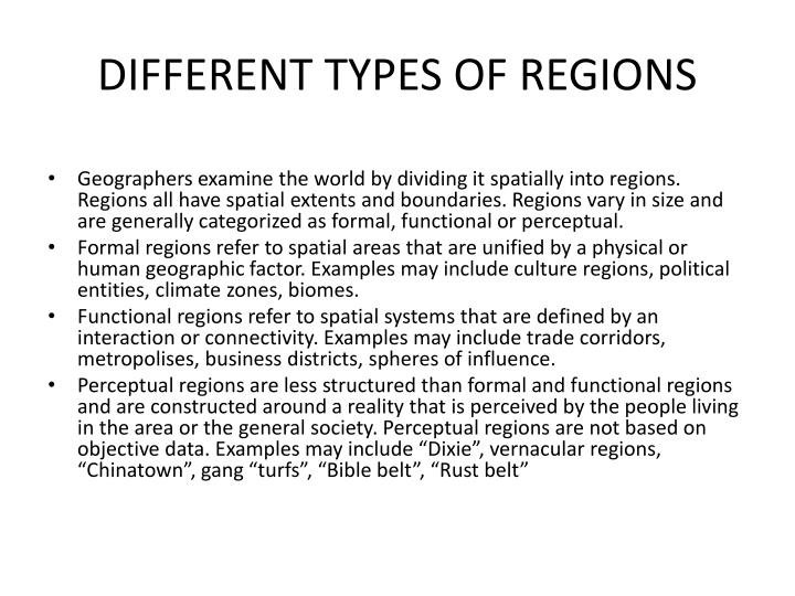 DIFFERENT TYPES OF REGIONS