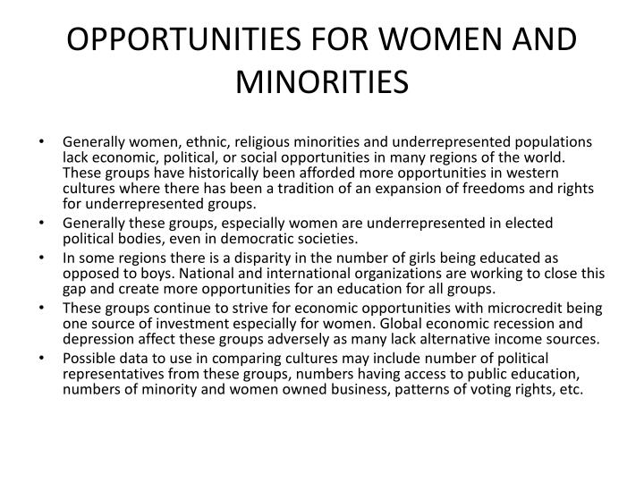 OPPORTUNITIES FOR WOMEN AND MINORITIES