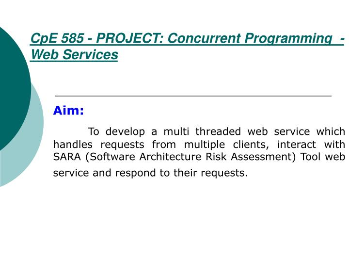 Cpe 585 project concurrent programming web services