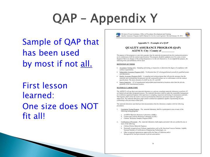 QAP – Appendix Y