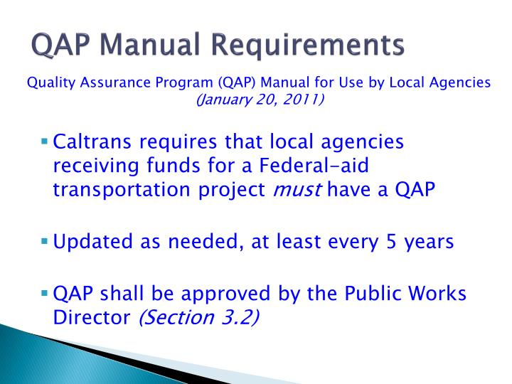 QAP Manual Requirements