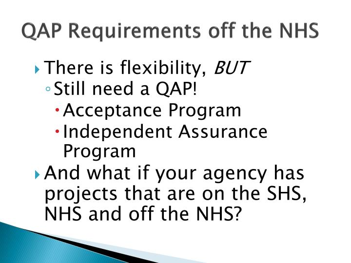 QAP Requirements off the NHS