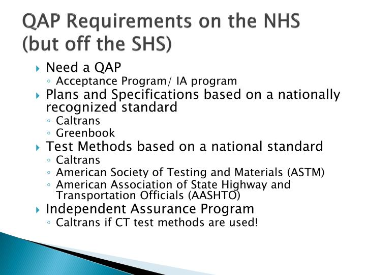 QAP Requirements on the NHS