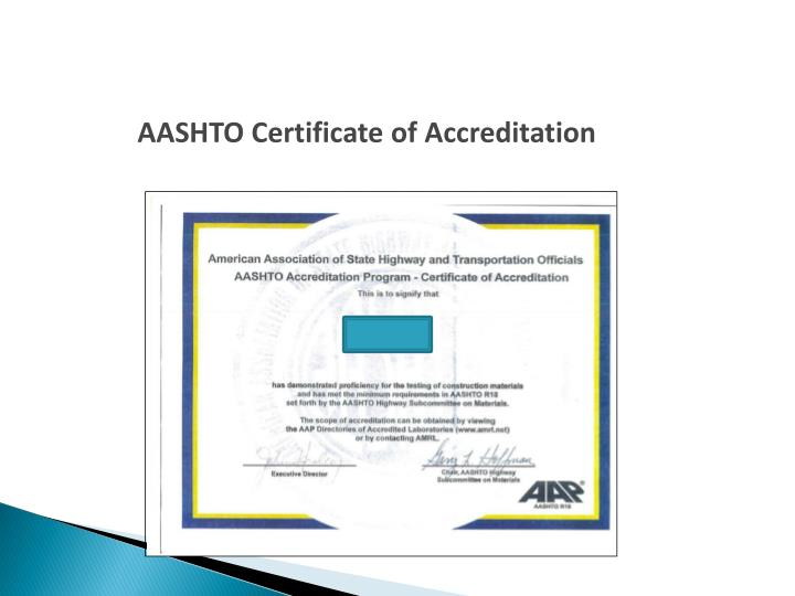AASHTO Certificate of Accreditation