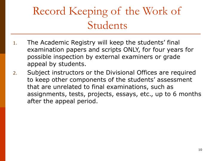 Record Keeping of the Work of Students