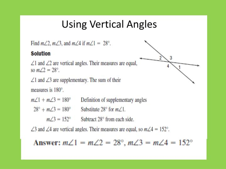 Using Vertical Angles