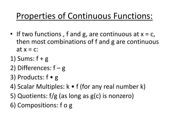 Properties of Continuous Functions: