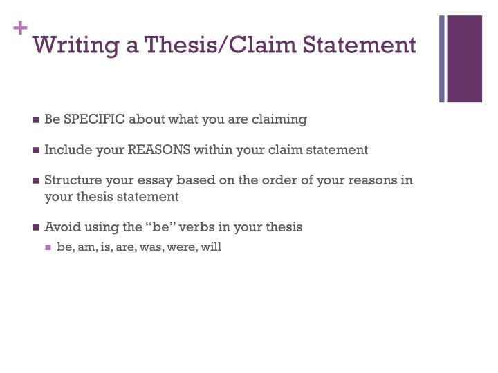 Writing a Thesis/Claim Statement