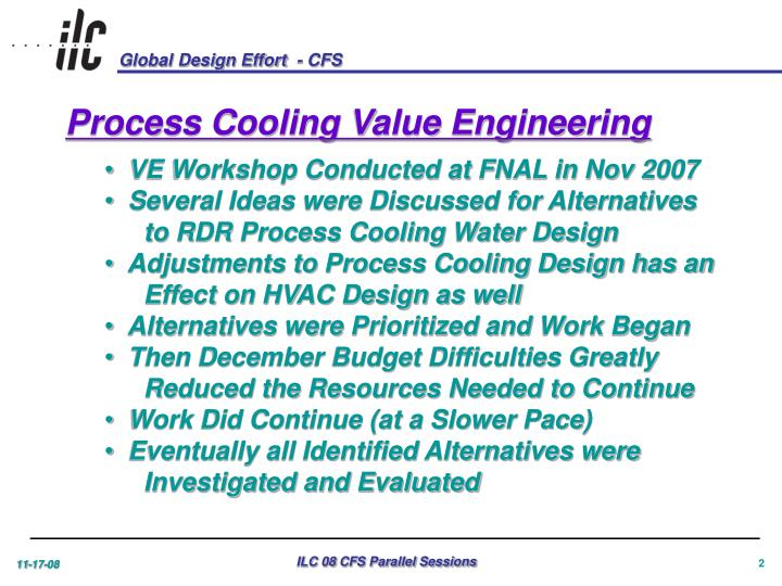 Process Cooling Value Engineering