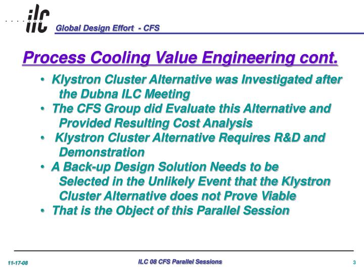 Process Cooling Value Engineering cont.
