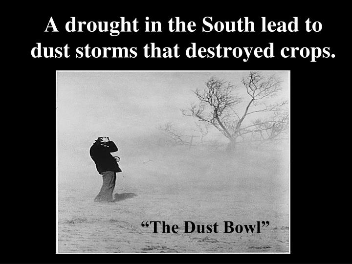 A drought in the South lead to dust storms that destroyed crops.