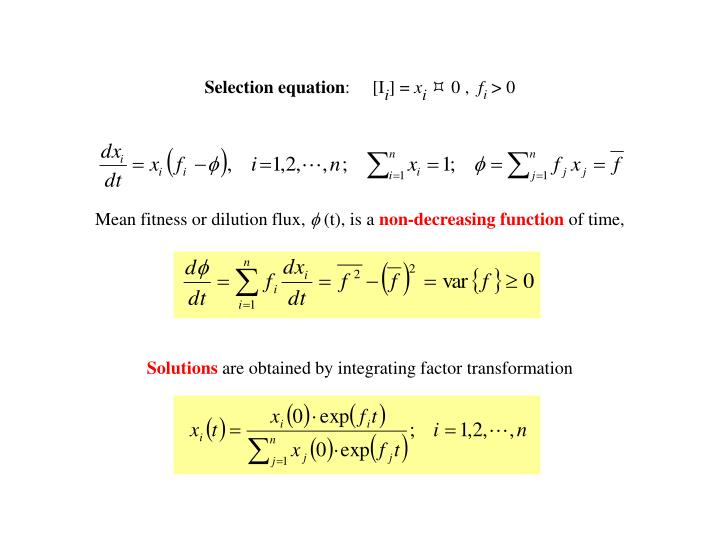 Selection equation
