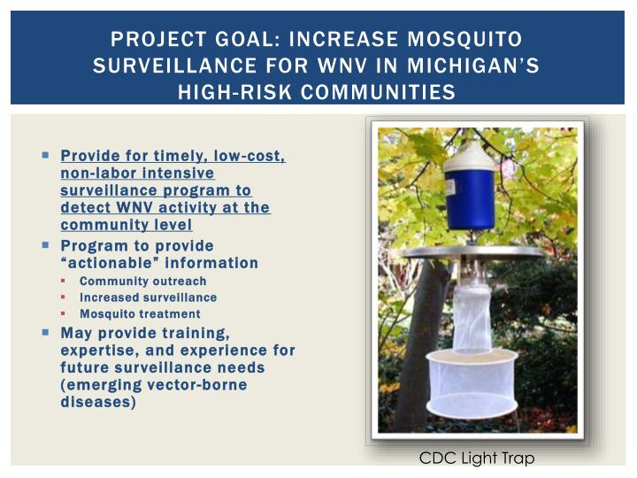Project Goal: Increase Mosquito Surveillance for WNV in Michigan's