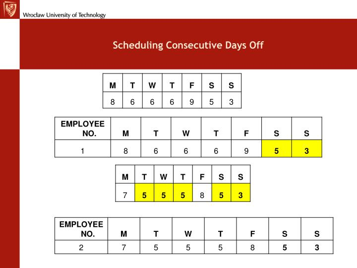 Scheduling Consecutive Days Off