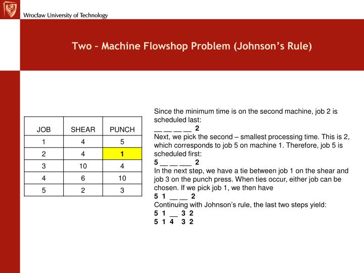 Two – Machine Flowshop Problem (Johnson's Rule)