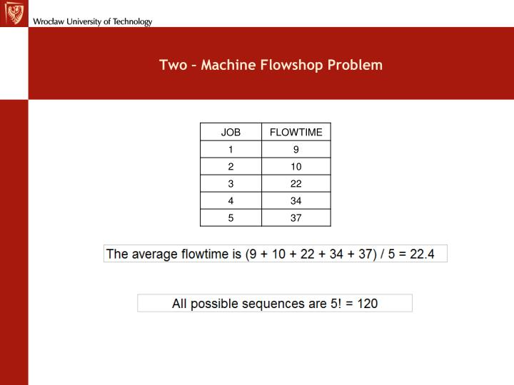 Two – Machine Flowshop Problem