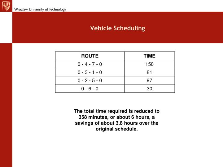 Vehicle Scheduling