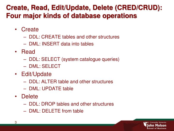 Create read edit update delete cred crud four major kinds of database operations