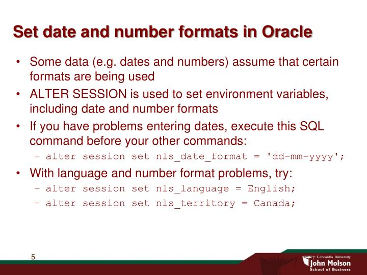Set date and number formats in Oracle