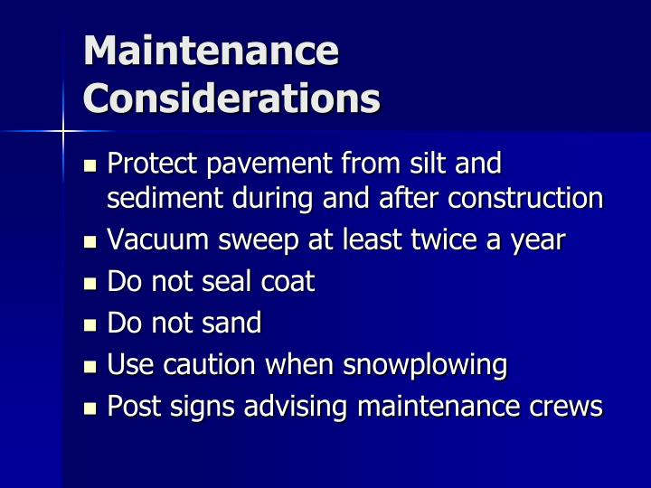 Maintenance Considerations