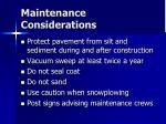 maintenance considerations