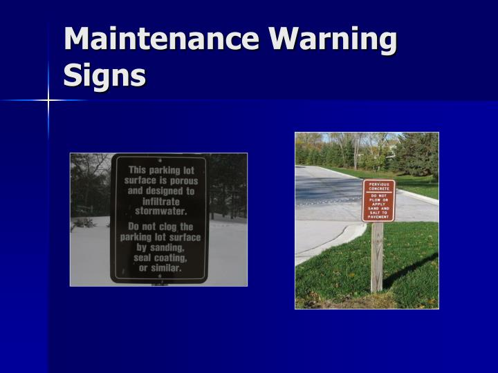 Maintenance Warning Signs