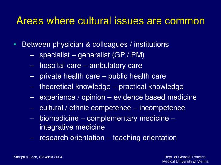 Areas where cultural issues are common