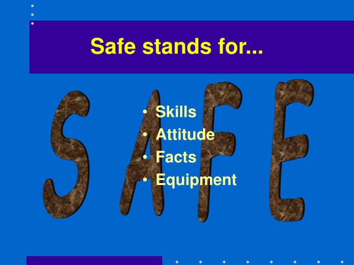 Safe stands for...