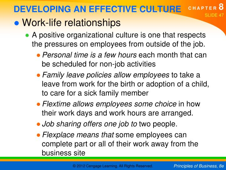 DEVELOPING AN EFFECTIVE CULTURE