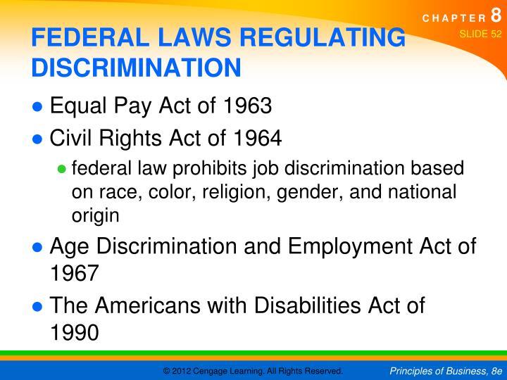 FEDERAL LAWS REGULATING DISCRIMINATION