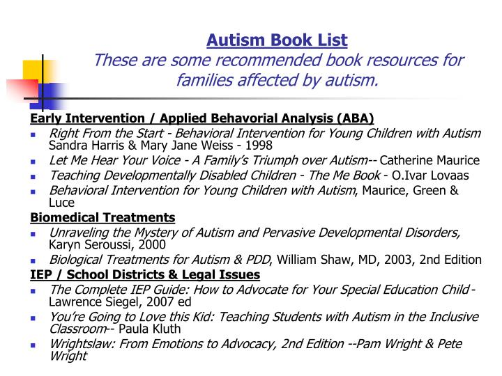 Autism Book List