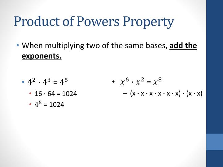 Product of powers property