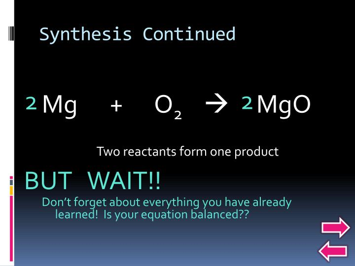 Synthesis Continued