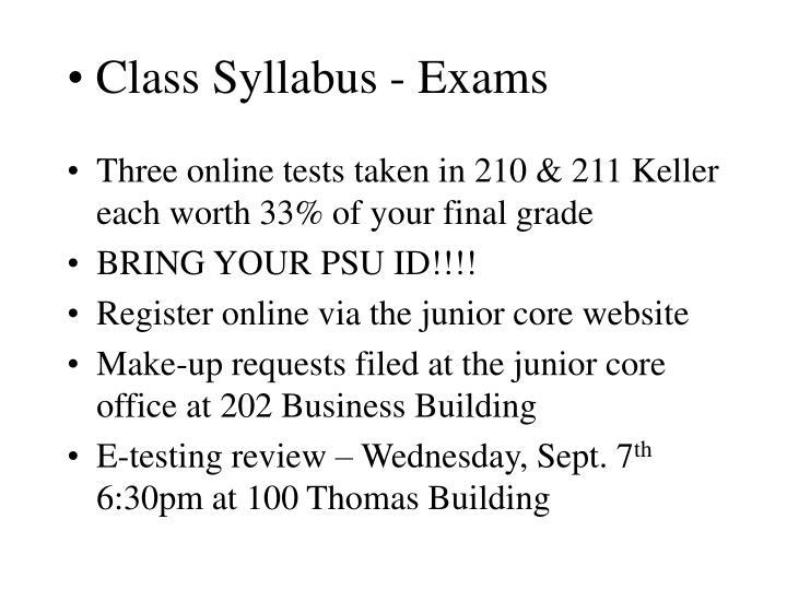 Class Syllabus - Exams