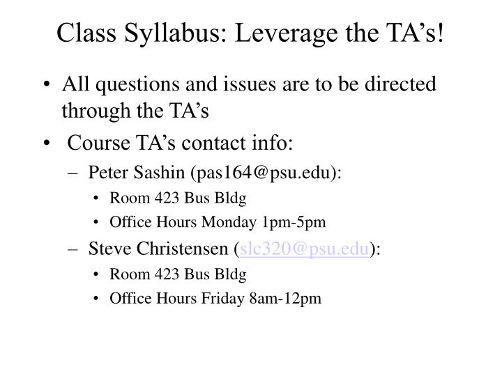 Class syllabus leverage the ta s