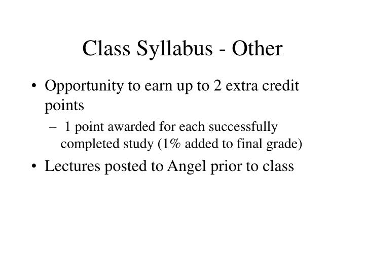 Class Syllabus - Other