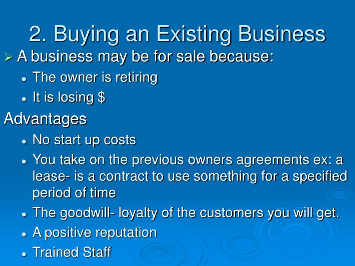 2. Buying an Existing Business