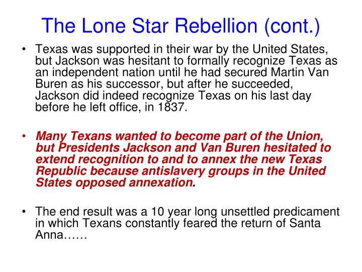 The Lone Star Rebellion (cont.)