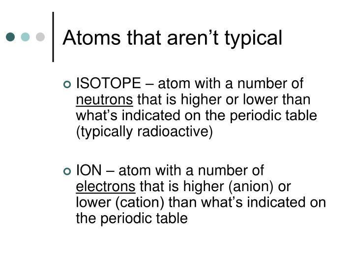 Atoms that aren't typical