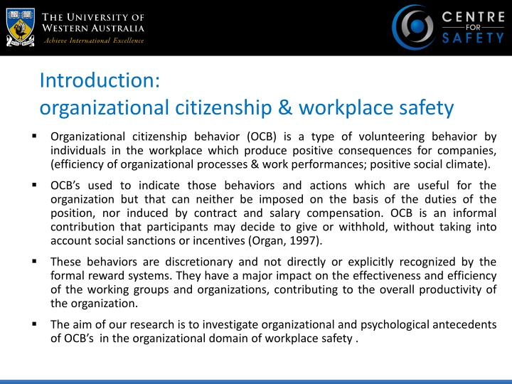 Introduction organizational citizenship workplace safety