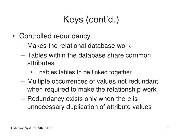 Keys (cont'd.)
