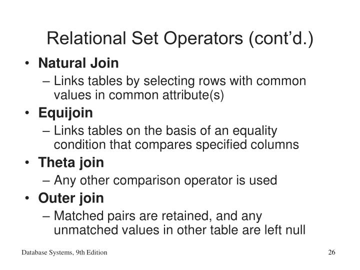 Relational Set Operators (cont'd.)