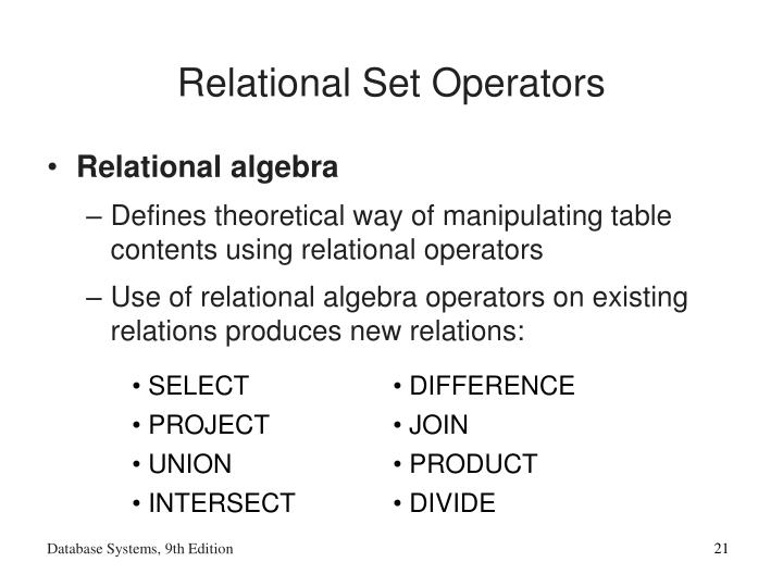 Relational Set Operators