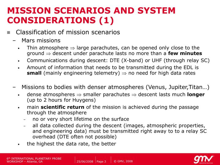 Mission scenarios and system considerations 1