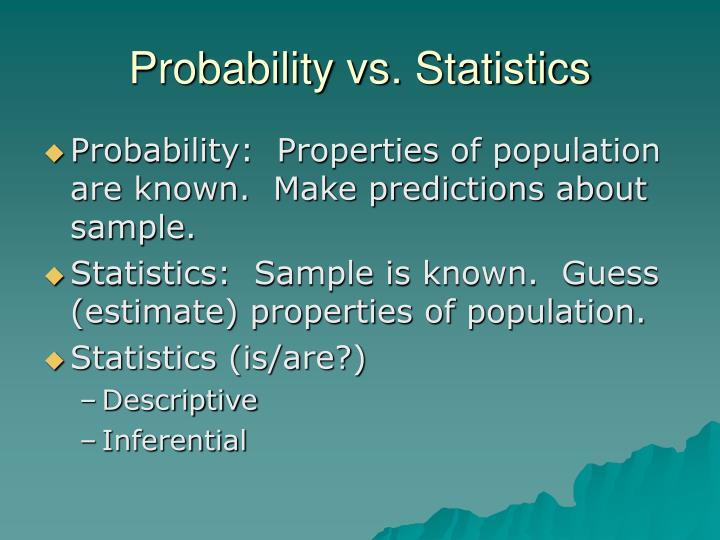 Probability vs. Statistics
