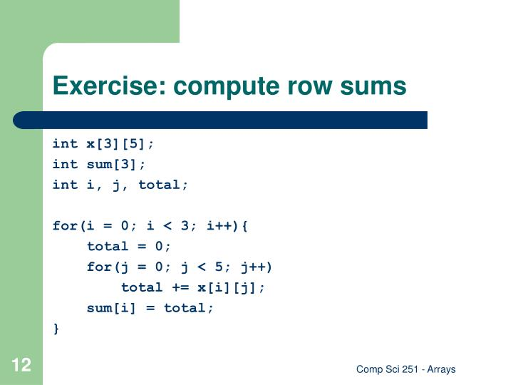 Exercise: compute row sums