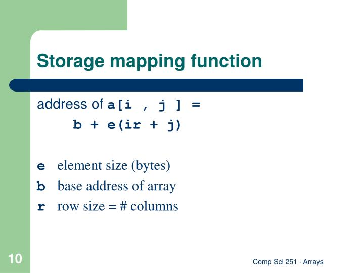 Storage mapping function