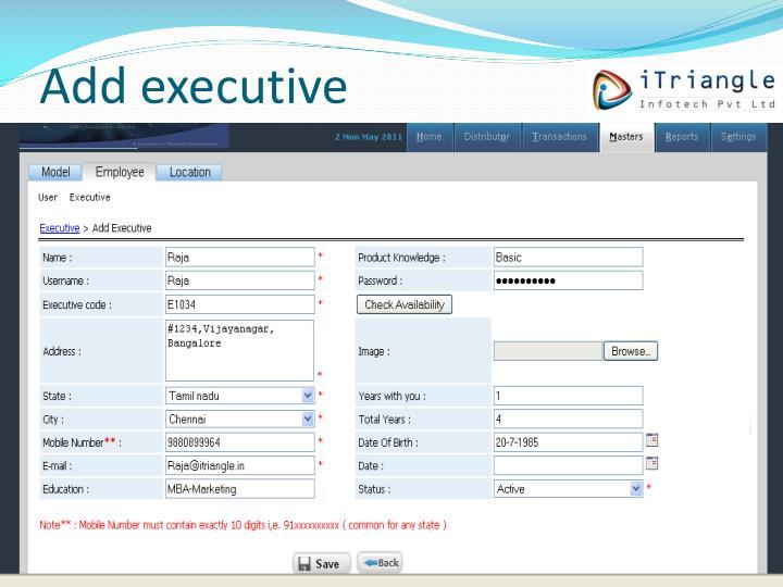 Add executive